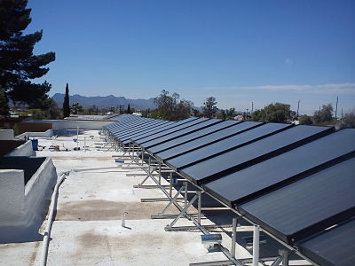 Solar water heating for apartment buildings