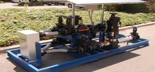 "3"" Pump Skid using two 3.5 HP Grundfos vertical multistage centrifugal pumps"